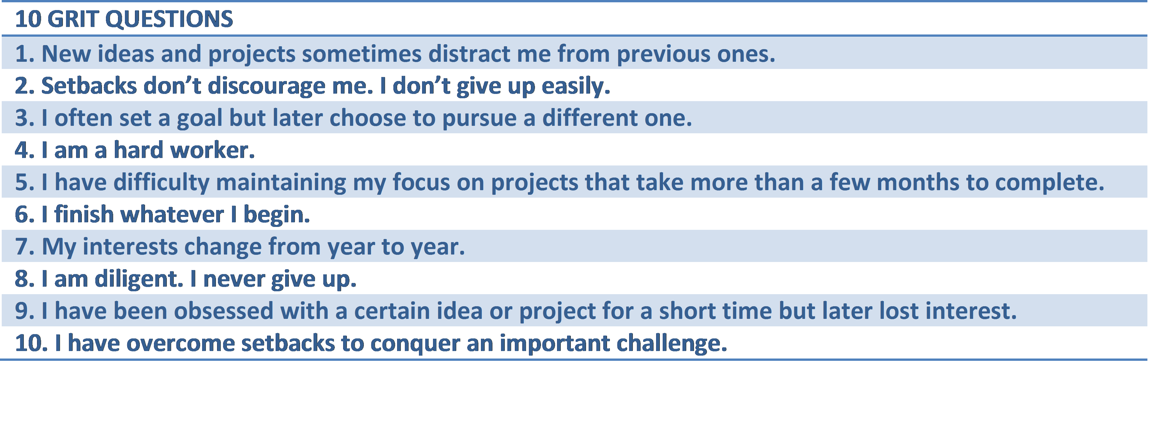 10 Grit Questions